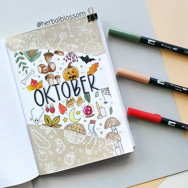 Autumn Harvest Craze - Bullet Journal Cover Pages Ideas for October