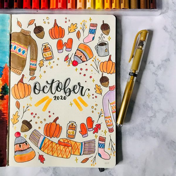 Autumn In Scandinavia - Bullet Journal Cover Pages Ideas for October