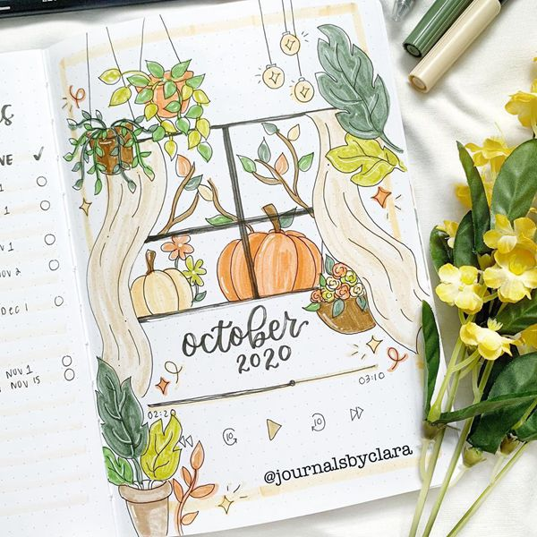 Autumn Outside And Summer Indoors - Bullet Journal Cover Pages Ideas for October