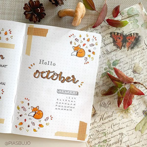Autumn Sleep - Bullet Journal Cover Pages Ideas for October