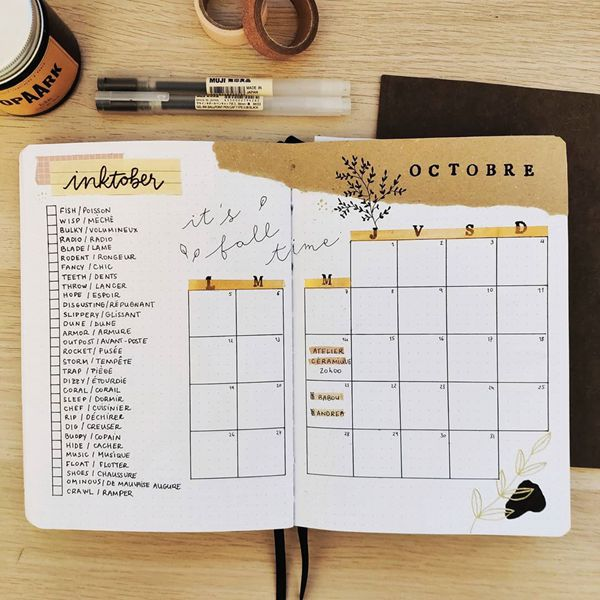 Be the Learner - Bullet Journal Monthly Calendar Spread Ideas for October