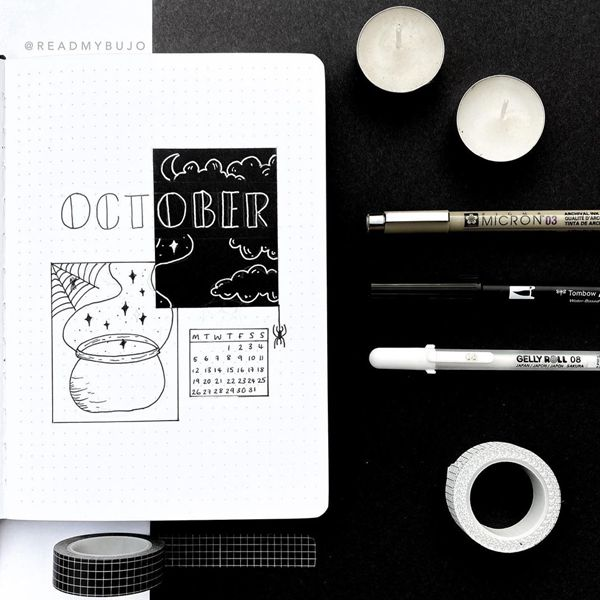 Black And White Simplicity - Bullet Journal Cover Pages Ideas for October