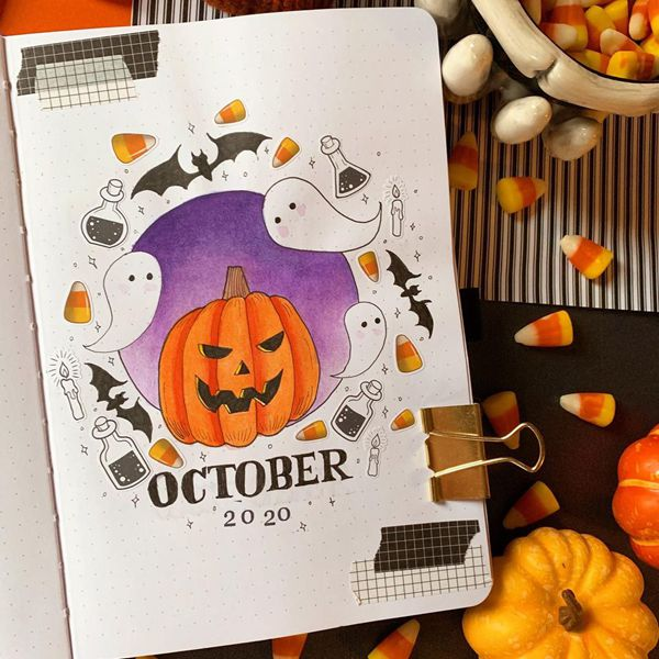 Boo…Scary - Bullet Journal Cover Pages Ideas for October
