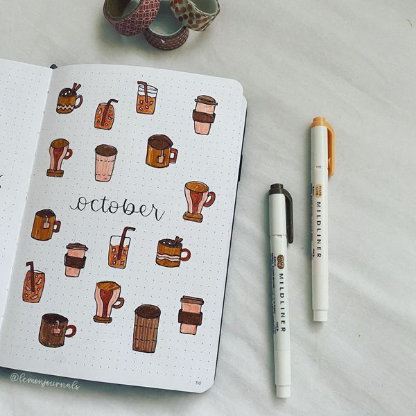 Coffee Time Is Here - Bullet Journal Cover Pages Ideas for October