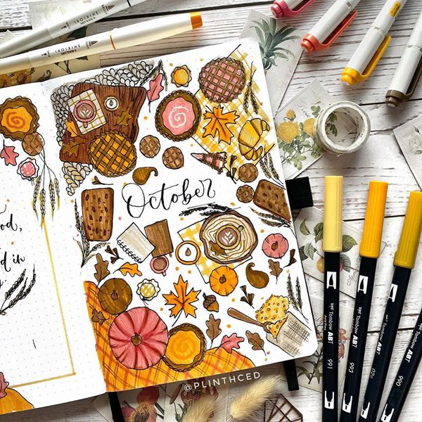 Colour Me In - Bullet Journal Cover Pages Ideas for October