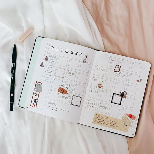 Cozy Comfort of Home - Bullet Journal Monthly Calendar Spread Ideas for October