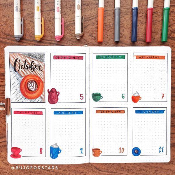 Cozy Drinks - Bullet Journal Weekly Spreads Ideas for October