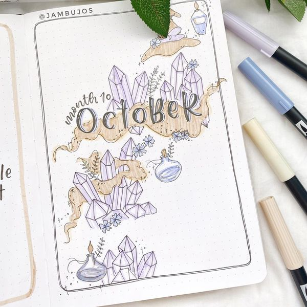 Crystal Vibrations - Bullet Journal Cover Pages Ideas for October