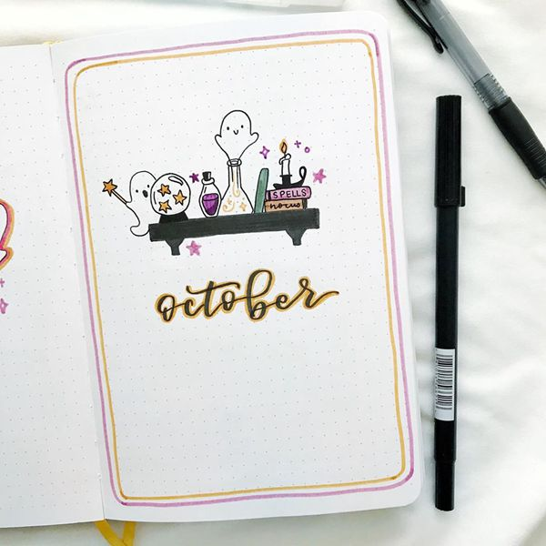 Cuteness Overdose On My Shelf - Bullet Journal Cover Pages Ideas for October