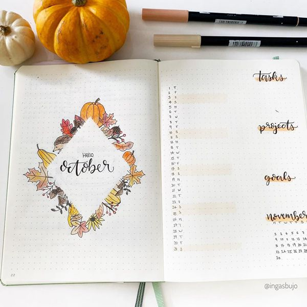Diamond Harvest - Bullet Journal Cover Pages Ideas for October