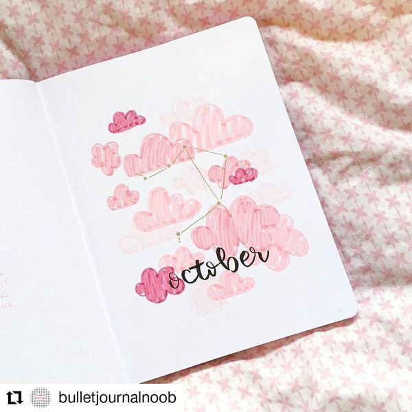 Dreaming Of Pink Clouds - Bullet Journal Cover Pages Ideas for October