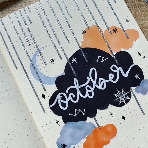 Dreamy Nights - Bullet Journal Cover Pages Ideas for October