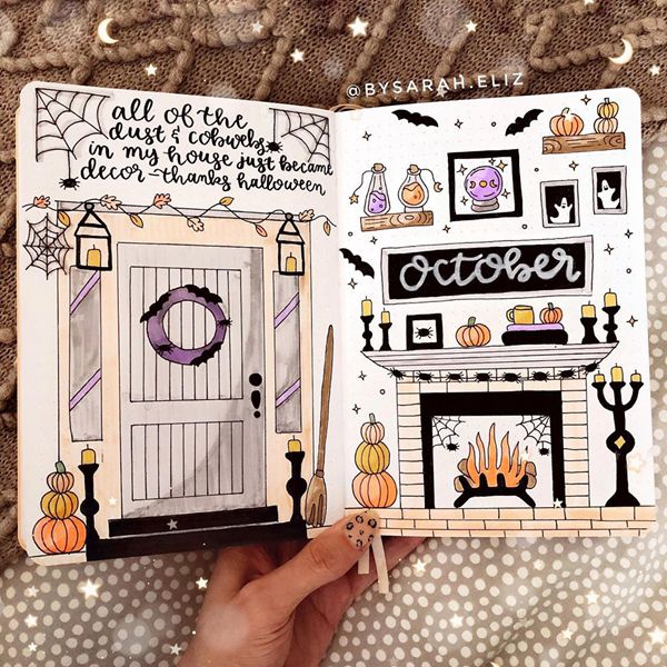 Enter Halloween - Bullet Journal Cover Pages Ideas for October