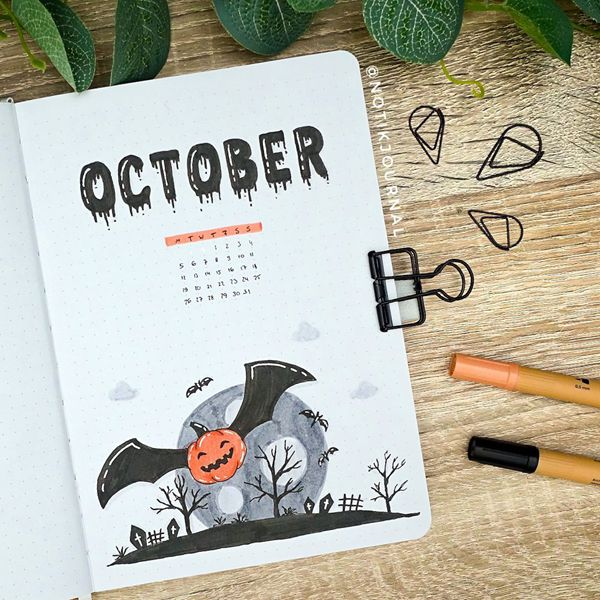 Flying Pumpkin Bat - Bullet Journal Cover Pages Ideas for October
