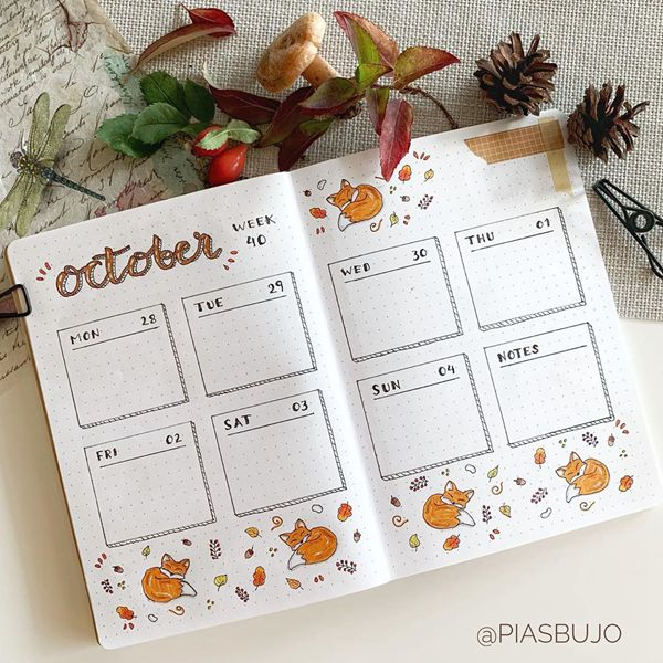Foxy Cutie Pie Weekly Spread - Bullet Journal Weekly Spreads Ideas for October