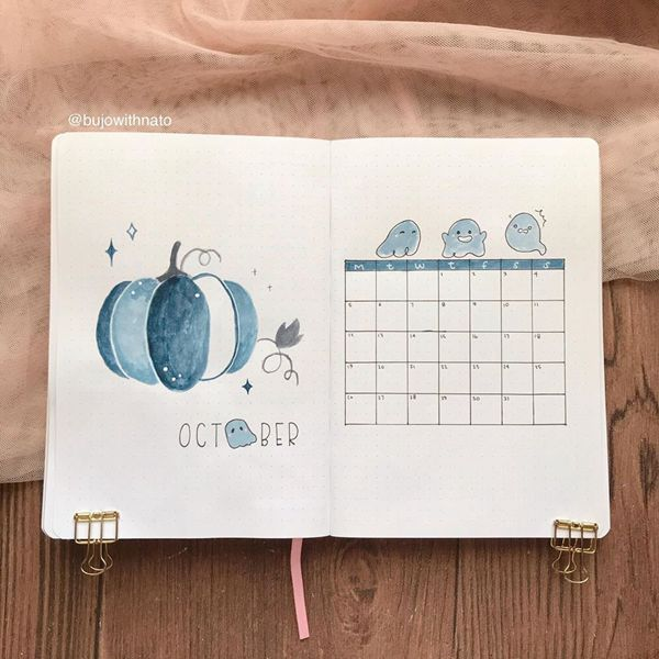 Ghostly Boo Monthly Spread - Bullet Journal Monthly Calendar Spread Ideas for October