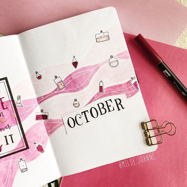 Girly Pinks - Bullet Journal Cover Pages Ideas for October