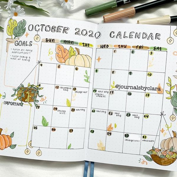 Go Green This October - Bullet Journal Monthly Calendar Spread Ideas for October