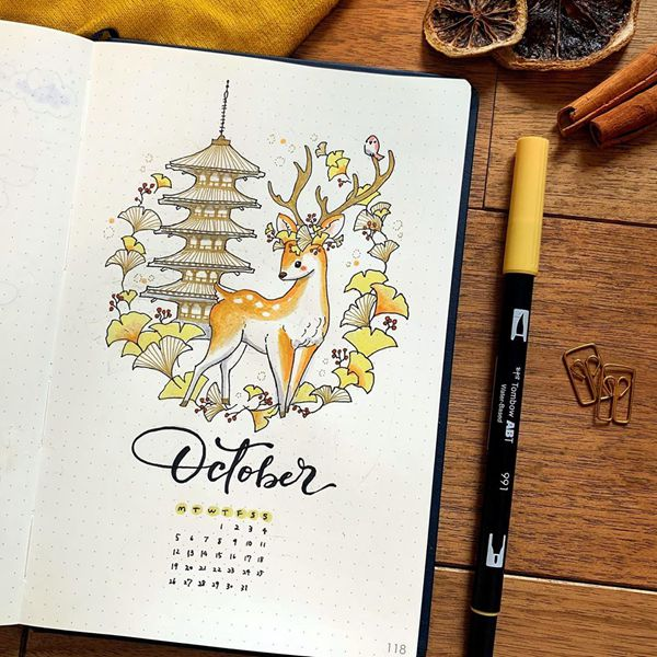 Going Oriental - Bullet Journal Cover Pages Ideas for October