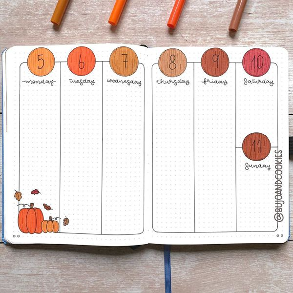 Harvesting Pumpkins Weekly Spread - Bullet Journal Weekly Spreads Ideas for October