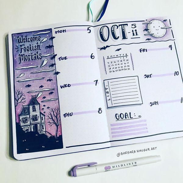 Haunting House Weekly Spread - Bullet Journal Weekly Spreads Ideas for October