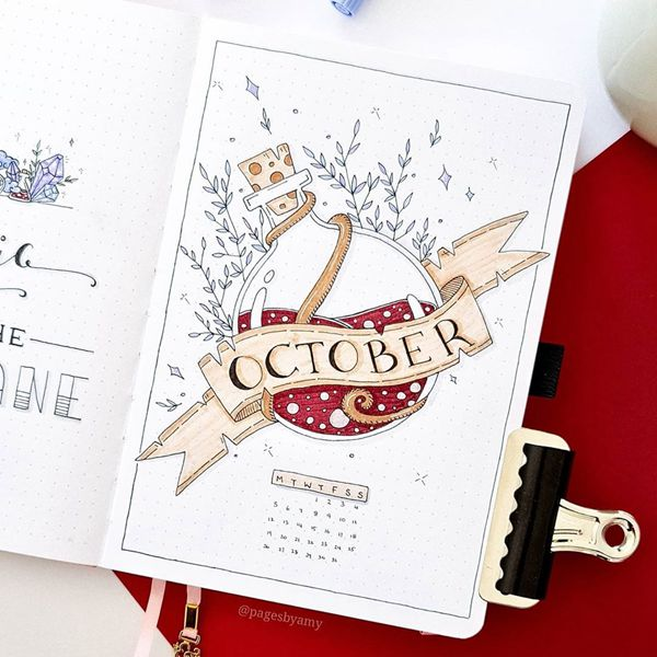 Hidden Treasure - Bullet Journal Cover Pages Ideas for October