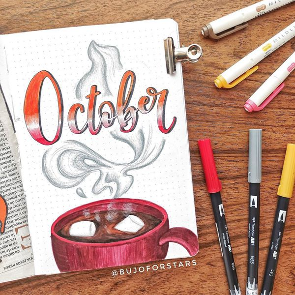 Hot Choca Choca Coco - Bullet Journal Cover Pages Ideas for October