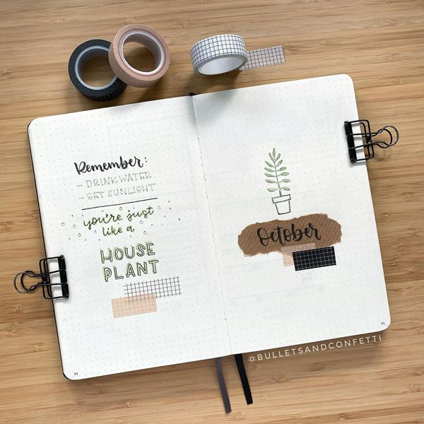 House Plant Minimalistic Simplicity - Bullet Journal Cover Pages Ideas for October