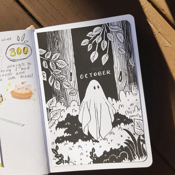 It's A Chilling Story - Bullet Journal Cover Pages Ideas for October