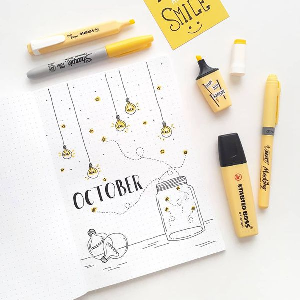 Let There Be Light - Bullet Journal Cover Pages Ideas for October