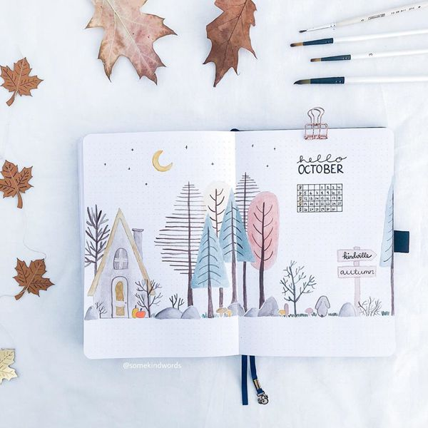 Lovely Country Evening - Bullet Journal Cover Pages Ideas for October