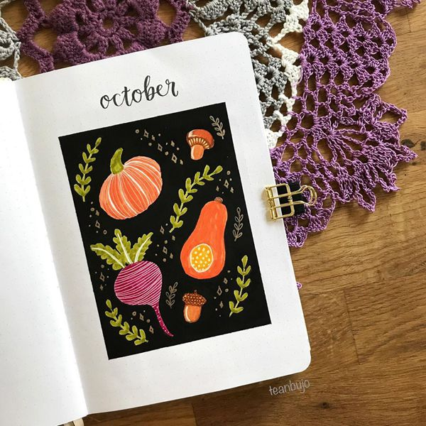Make It Pop - Bullet Journal Cover Pages Ideas for October