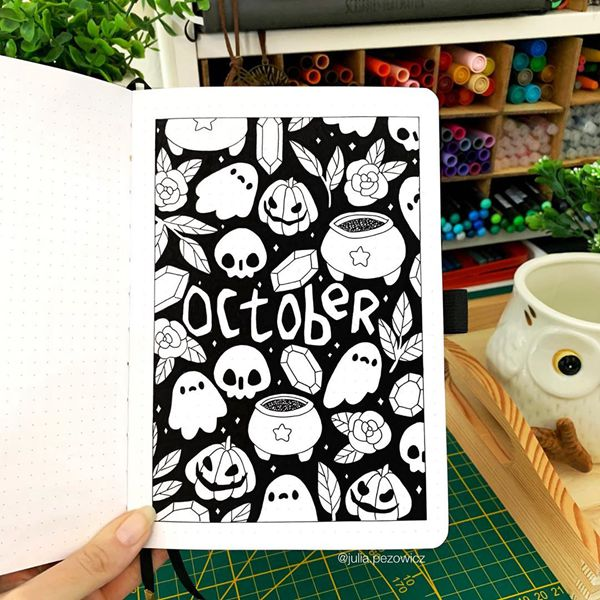 Mexican Inspired Halloween - Bullet Journal Cover Pages Ideas for October