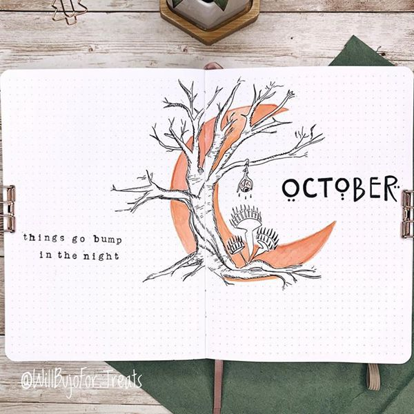 Minimalist's Spooky Cover Page - Bullet Journal Cover Pages Ideas for October