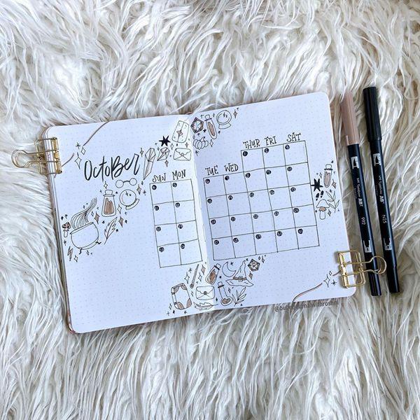 Mystical October - Bullet Journal Monthly Calendar Spread Ideas for October