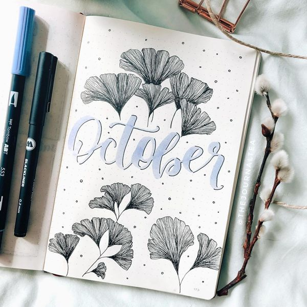 Neutral Naturals - Bullet Journal Cover Pages Ideas for October