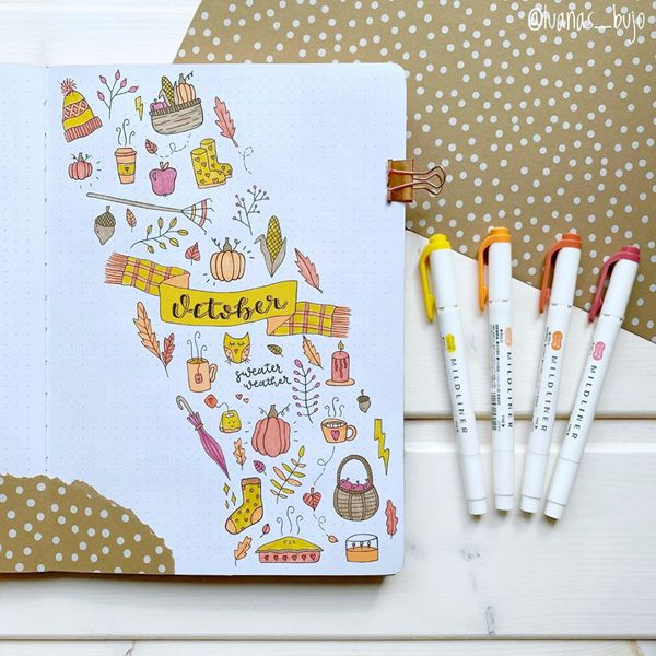 October Associations - Bullet Journal Cover Pages Ideas for October