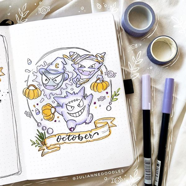 Pokemon Ghosts - Bullet Journal Cover Pages Ideas for October