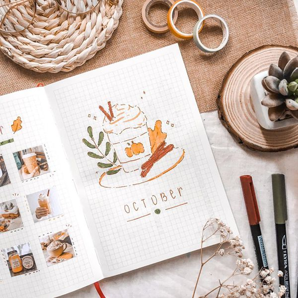 Pumpkin Cupcake - Bullet Journal Cover Pages Ideas for October