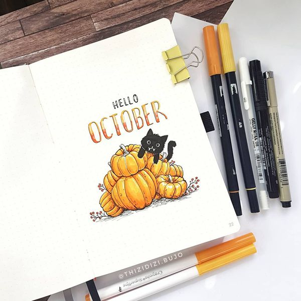 Pumpkin Cuteness - Bullet Journal Cover Pages Ideas for October