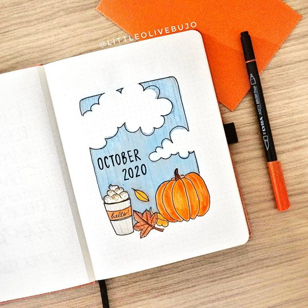Pumpkin Latte Is My Favourite - Bullet Journal Cover Pages Ideas for October