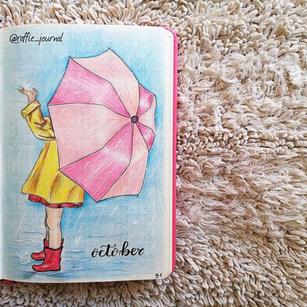 Rain On Me - Bullet Journal Cover Pages Ideas for October
