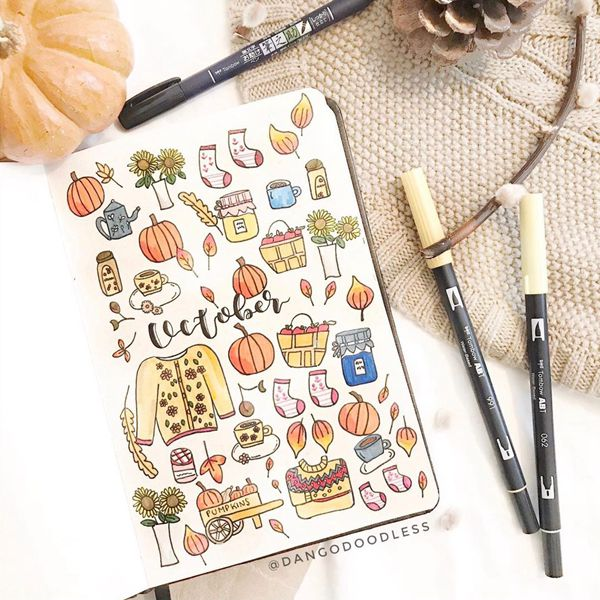 Scandi Autumn Is Here - Bullet Journal Cover Pages Ideas for October
