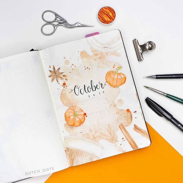 Spilled Coffee - Bullet Journal Cover Pages Ideas for October