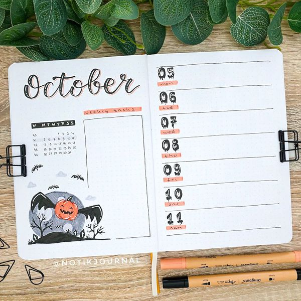 Spooky Spread - Bullet Journal Weekly Spreads Ideas for October