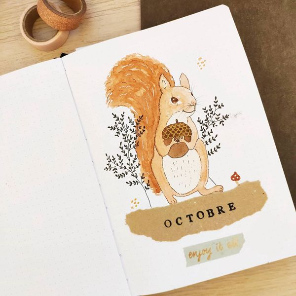 Squirrel Cuteness - Bullet Journal Cover Pages Ideas for October