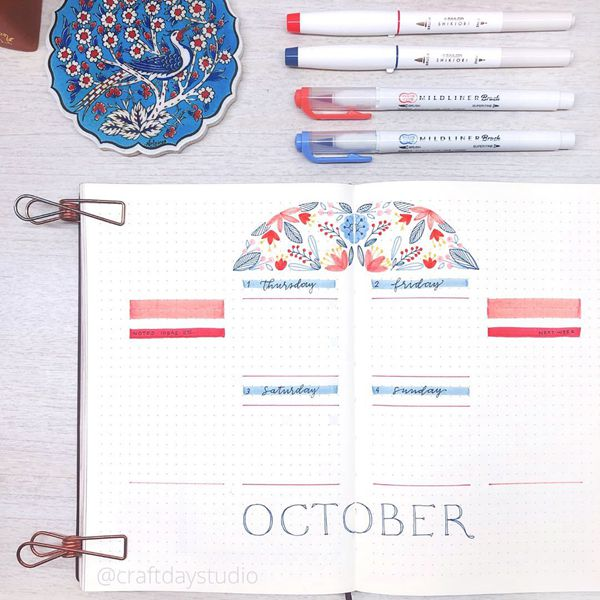 Stained Glass Weekly Spread - Bullet Journal Weekly Spreads Ideas for October
