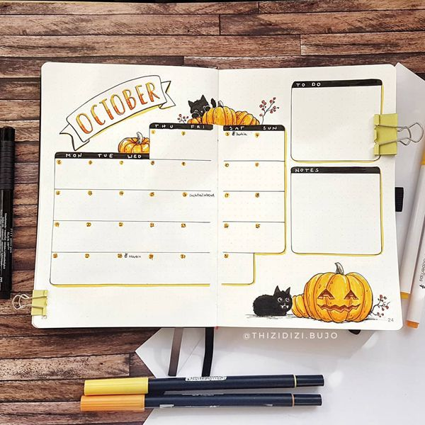 Style Matters - Bullet Journal Monthly Calendar Spread Ideas for October