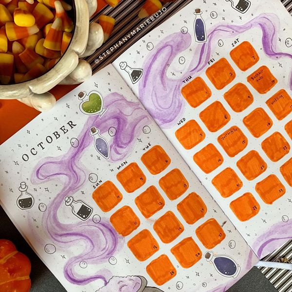 The Magical October - Bullet Journal Monthly Calendar Spread Ideas for October