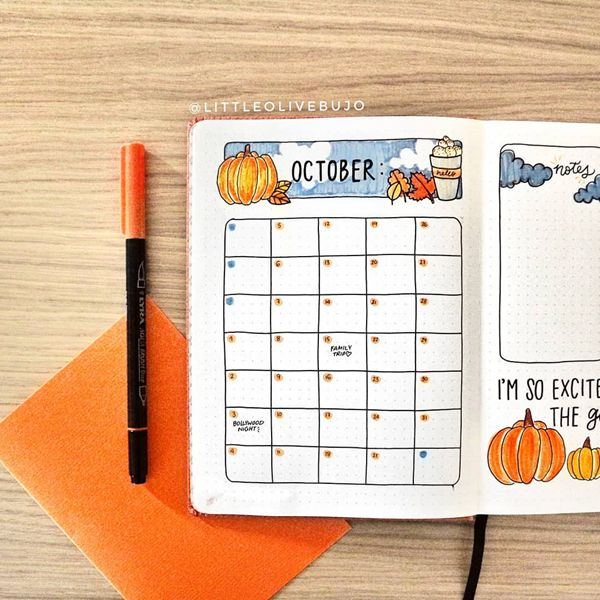 The Perfect is Imperfect - Bullet Journal Monthly Calendar Spread Ideas for October